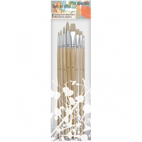 PEBEO 8 WHITE BRISTLE LNG HANDLE BRUSH SET