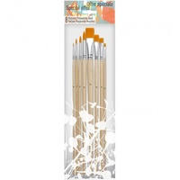 PEBEO 8 YELLOW SYNTHETIC LONG HANDLE BRUSH SET