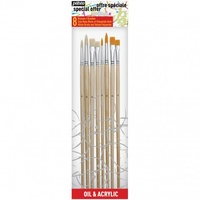 PEBEO 8 BRUSH SET L/HANDL 4 WHITE BRISTLE/4 SYNTHE