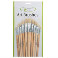 FLAT BRISTLE BRUSH FOR OIL & ACRYLIC 12 PCS SET