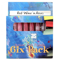 SET of 6 PASTELS - RED WINE 'n' ROSES