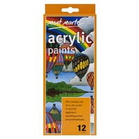 M.M. 12pce Acrylic Paints 12ml