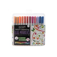 Mont Marte Duo Markers - Fine Tip & Brush Marker 24pc Set