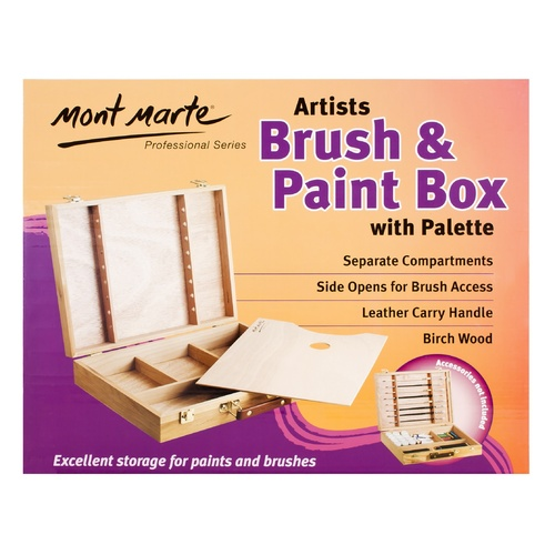 M.M. Large Birch Brush/Paint Box w/palette